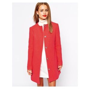 Zara Basic Boucle Red Jacket Coat Woman's MED NWT